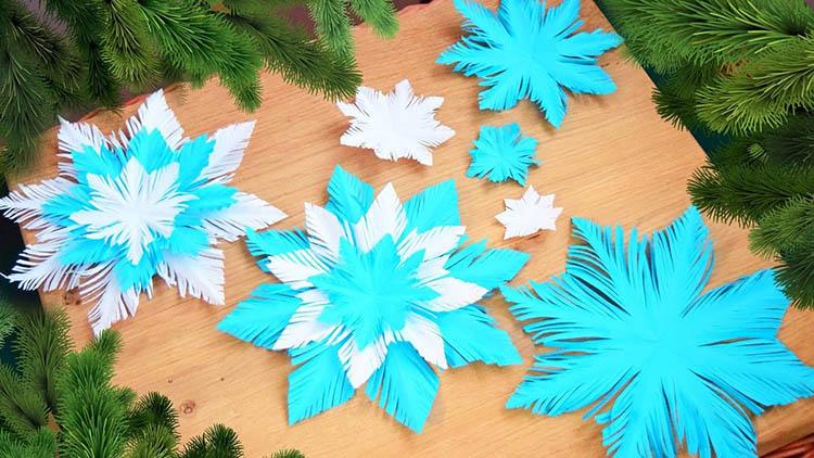 Пушистые снежинки своими руками   красивое украшение для Нового года pushistaya snezhinka 23