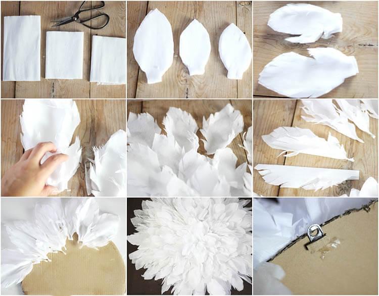 Пушистые снежинки своими руками   красивое украшение для Нового года pushistaya snezhinka 33