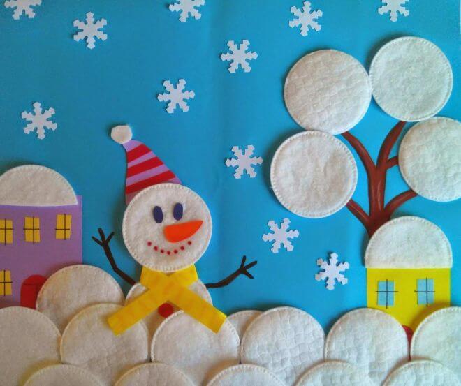 Аппликация снеговик: поделка для детского садика snegovik applikaciya iz bumagi 1