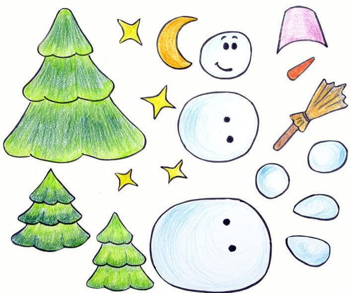 Аппликация снеговик: поделка для детского садика snegovik applikaciya iz bumagi 10