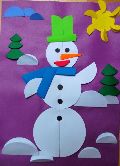 Аппликация снеговик: поделка для детского садика snegovik applikaciya iz bumagi 12