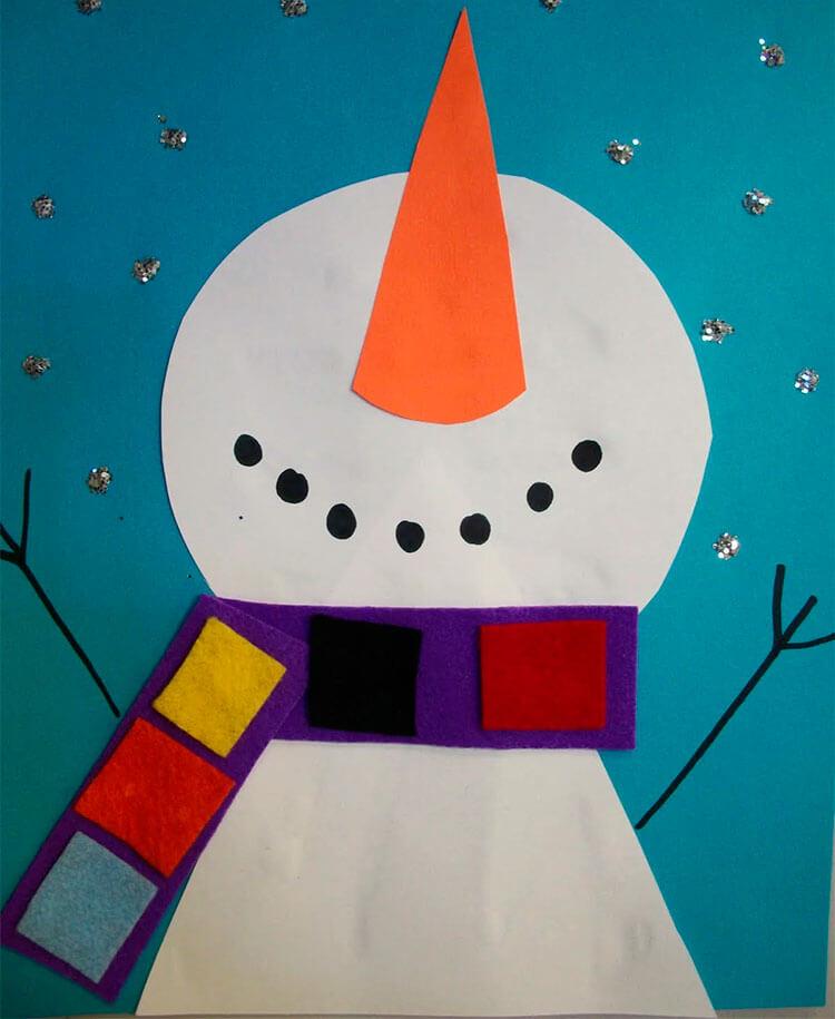Аппликация снеговик: поделка для детского садика snegovik applikaciya iz bumagi 13