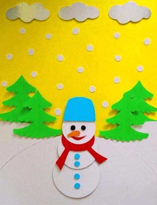 Аппликация снеговик: поделка для детского садика snegovik applikaciya iz bumagi 14