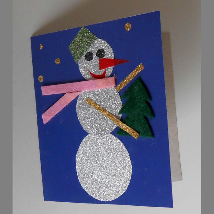 Аппликация снеговик: поделка для детского садика snegovik applikaciya iz bumagi 16