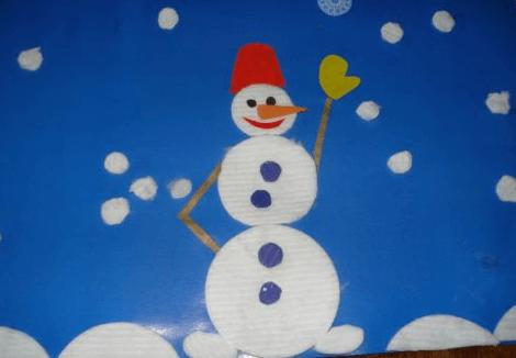 Аппликация снеговик: поделка для детского садика snegovik applikaciya iz bumagi 2