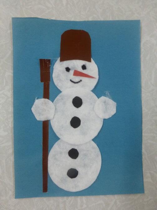 Аппликация снеговик: поделка для детского садика snegovik applikaciya iz bumagi 3