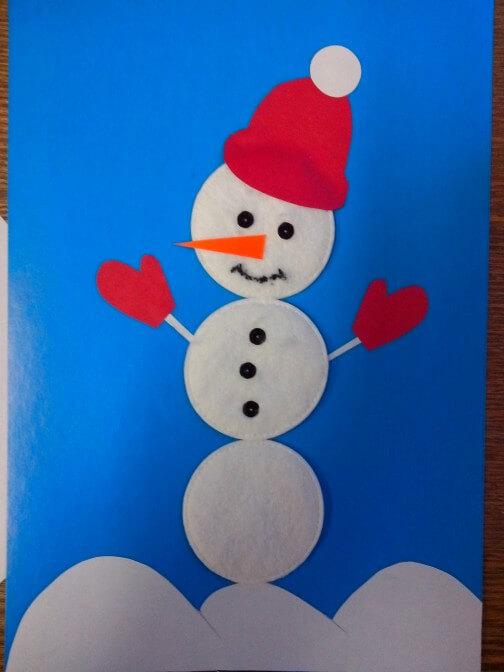 Аппликация снеговик: поделка для детского садика snegovik applikaciya iz bumagi 8