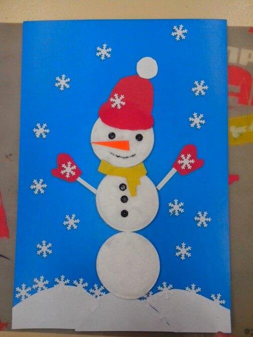 Аппликация снеговик: поделка для детского садика snegovik applikaciya iz bumagi 9