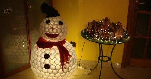 snegovik_svoimi_rukami- Снеговик из пластиковых стаканчиков своими руками: пошагово с фото