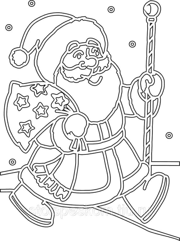 Шаблоны Деда Мороза для вырезания из бумаги trafarety ded moroz 004