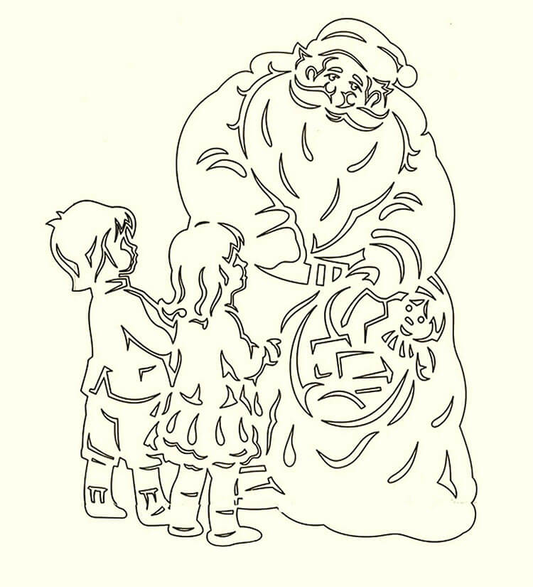 Шаблоны Деда Мороза для вырезания из бумаги trafarety ded moroz 005