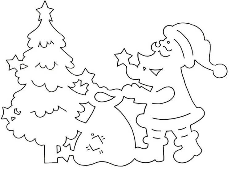 Шаблоны Деда Мороза для вырезания из бумаги trafarety ded moroz 010