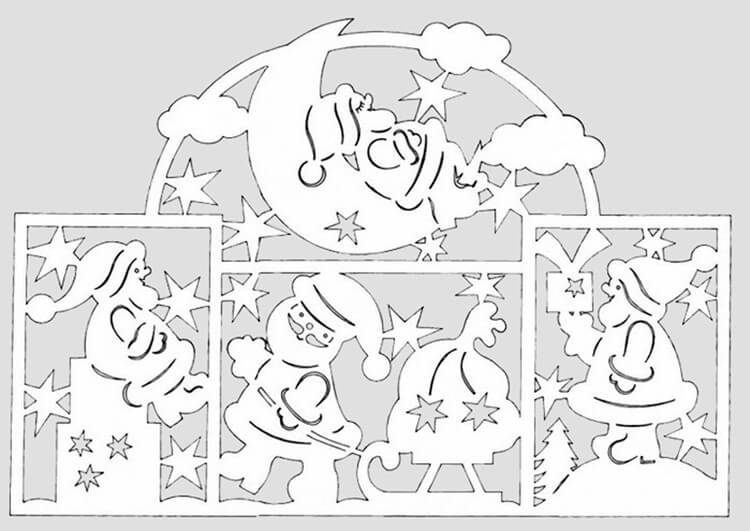 Шаблоны Деда Мороза для вырезания из бумаги trafarety ded moroz 015