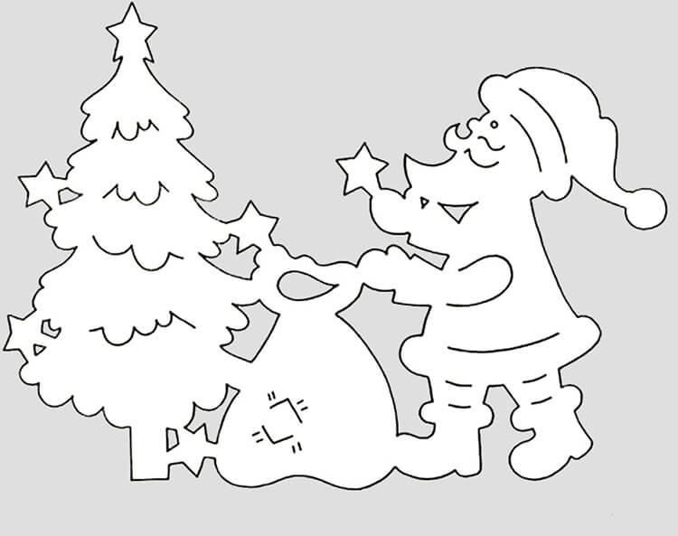 Шаблоны Деда Мороза для вырезания из бумаги trafarety ded moroz 023