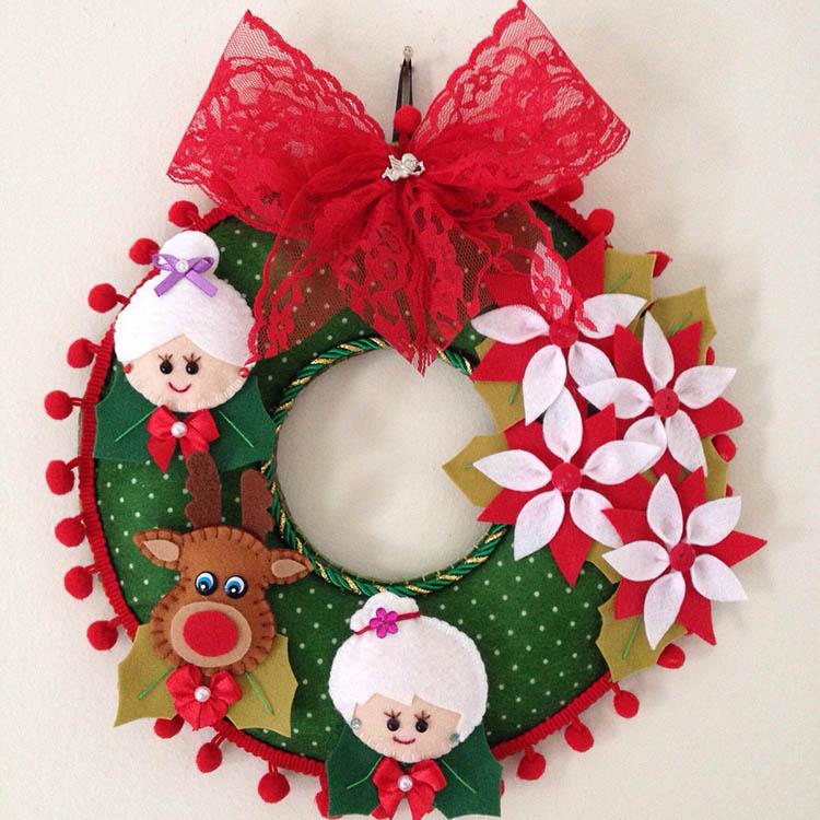 Яркий венок из фетра на дверь к Рождеству или Новому году venok 19 1