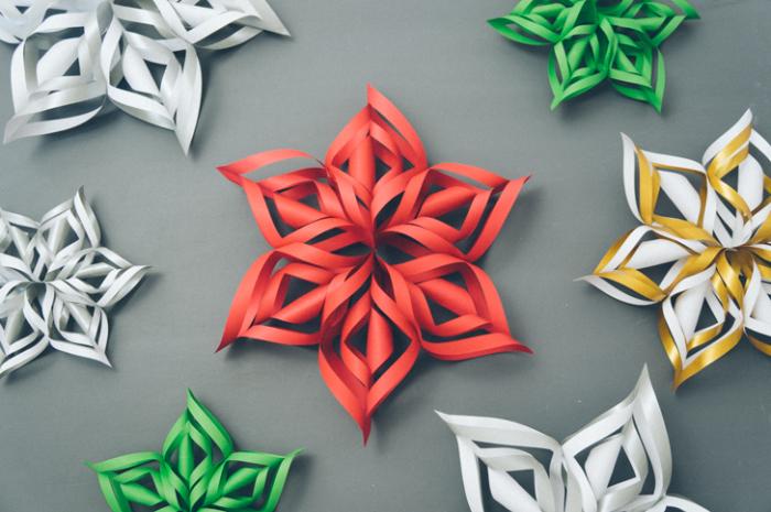 Объемные снежинки из бумаги своими руками 3d snowflakes 1