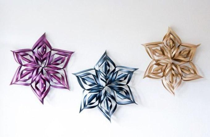 Объемные снежинки из бумаги своими руками 3d snowflakes 13