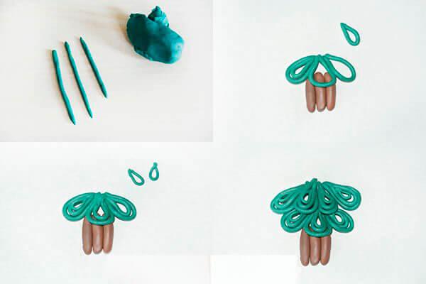 Елка из пластилина: детская поделка на Новый год elka iz plastilina 12