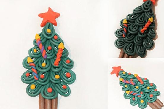 Елка из пластилина: детская поделка на Новый год elka iz plastilina 15