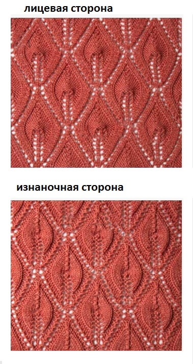 Узор Листья спицами: варианты вязания со схемами uzor listya spicami 8