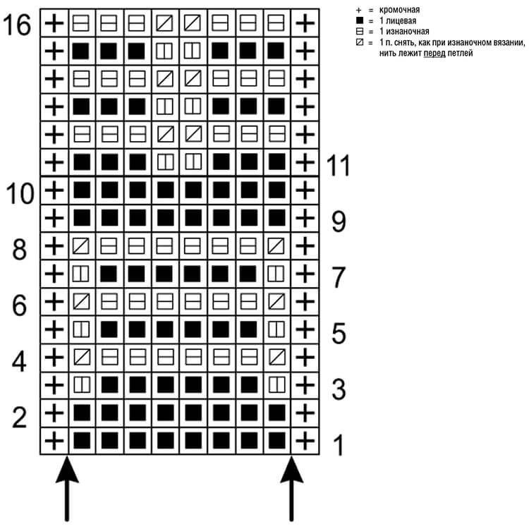 Узор Ячейки спицами uzor yachejki spicami 6