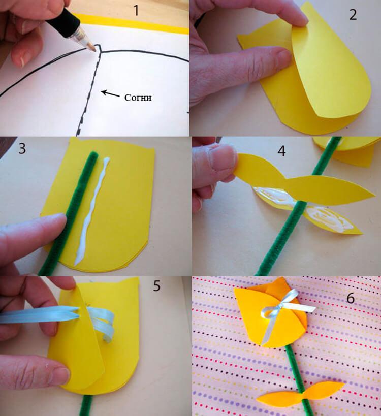 Как сделать тюльпаны своими руками: мастер классы в различных техниках Tyulpan iz bumagi 29