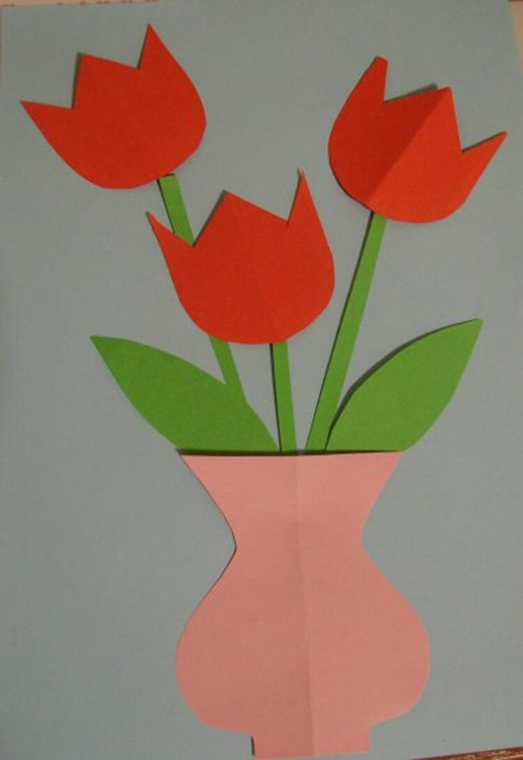 Как сделать тюльпаны своими руками: мастер классы в различных техниках Tyulpan iz bumagi 42