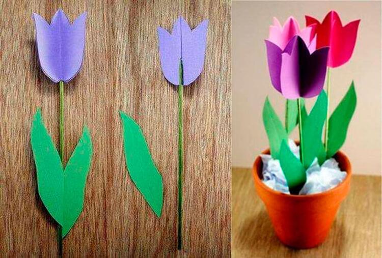 Как сделать тюльпаны своими руками: мастер классы в различных техниках Tyulpan iz bumagi 88