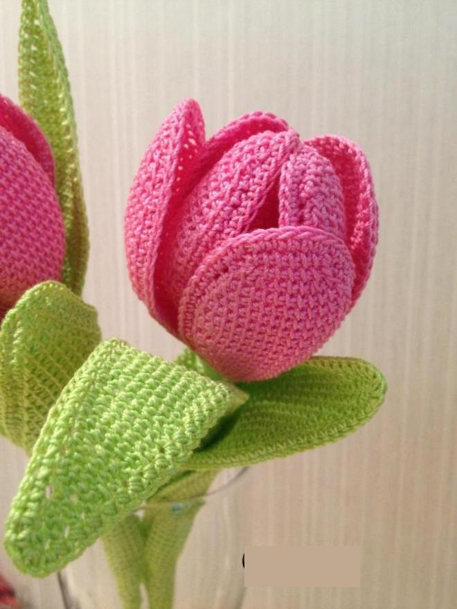 Вязаный тюльпан крючком: красивый и оригинальный подарок tyulpan kryuchkom 6