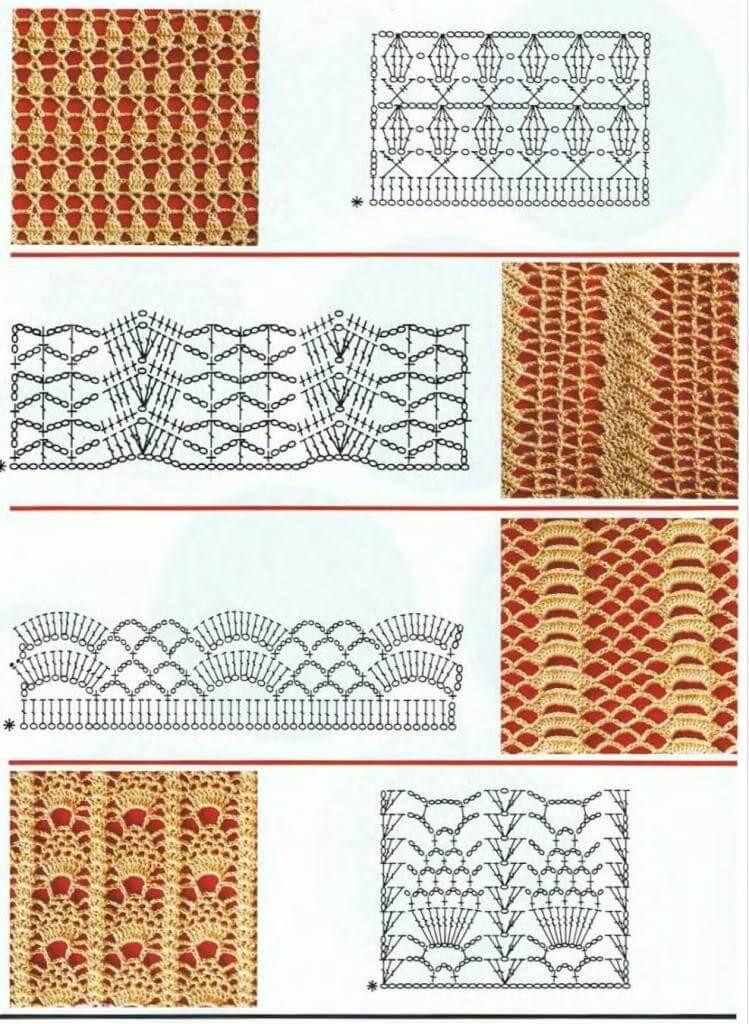Вертикальные узоры крючком: красивые схемы vertikalnye uzory kryuchkom 3