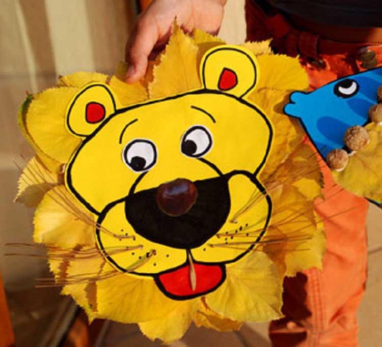 Лев из осенних листьев: варианты аппликации для детского сада 119