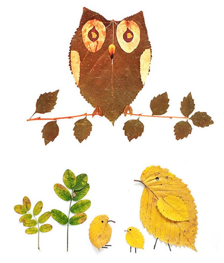 Что можно сделать из сухих осенних листьев: варианты с фото 5