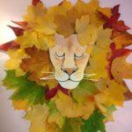 Лев из осенних листьев: варианты аппликации для детского сада