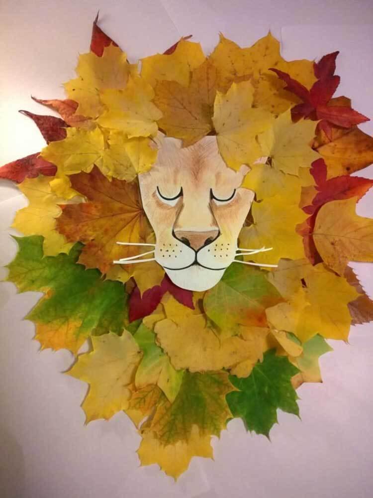Лев из осенних листьев: варианты аппликации для детского сада lev 1