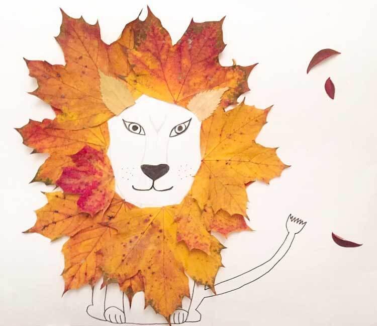 Лев из осенних листьев: варианты аппликации для детского сада lev 4