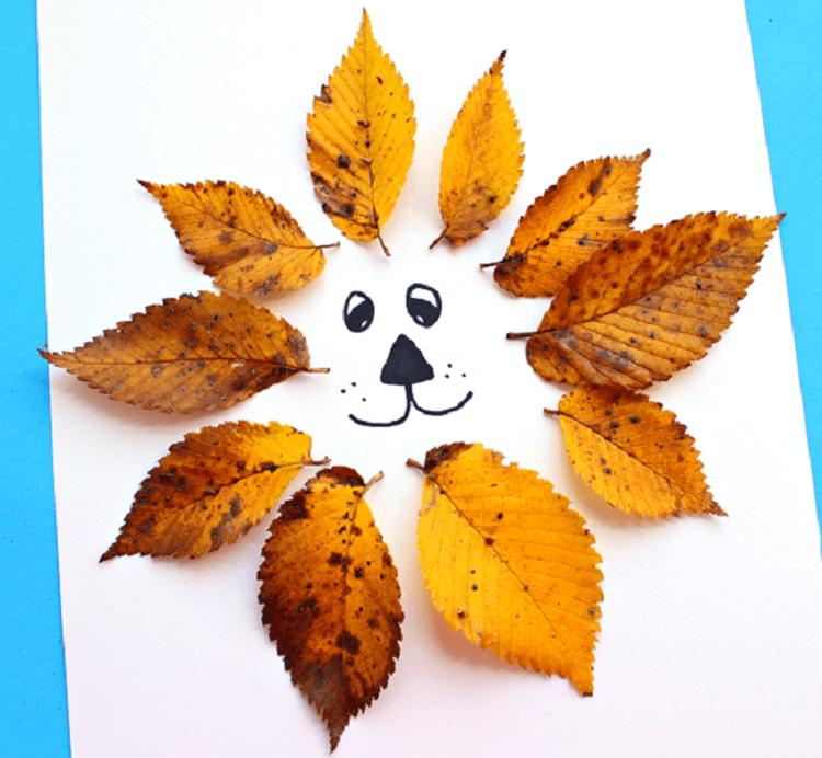 Лев из осенних листьев: варианты аппликации для детского сада lev 5