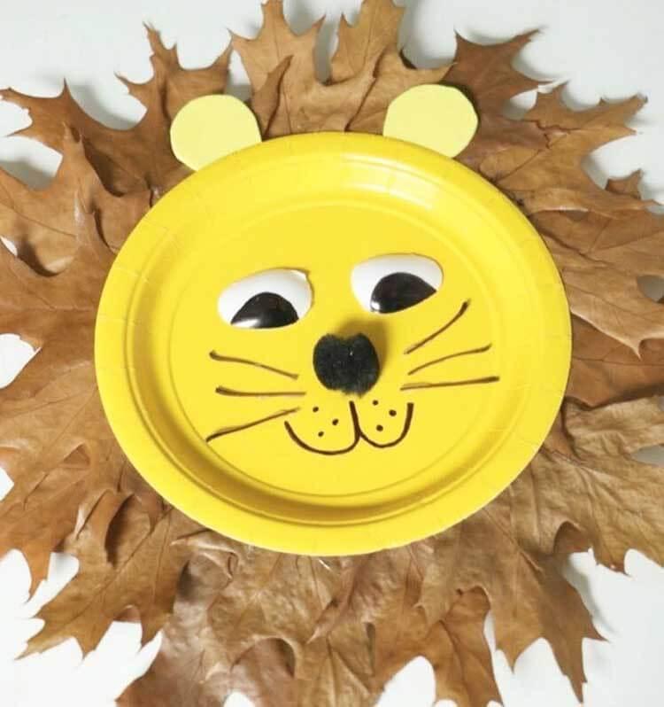 Лев из осенних листьев: варианты аппликации для детского сада lev 6