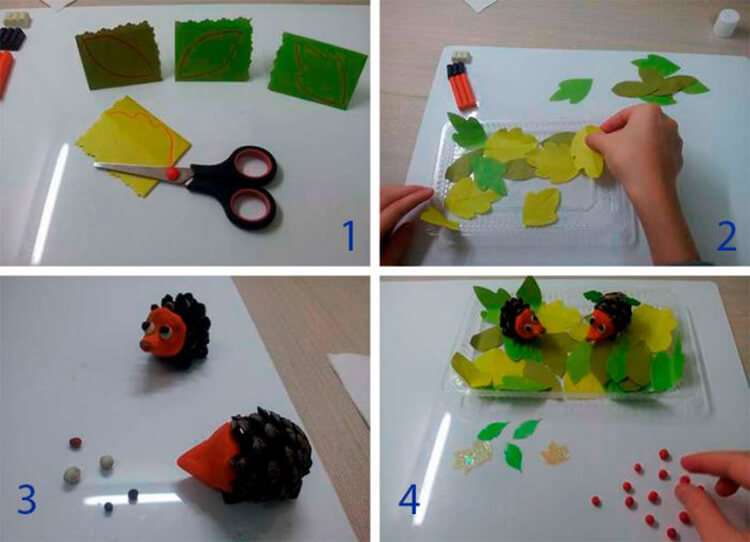 Красивые поделки из шишек на тему Осень для сада и школы podelki iz shishek svoimi rukami 57
