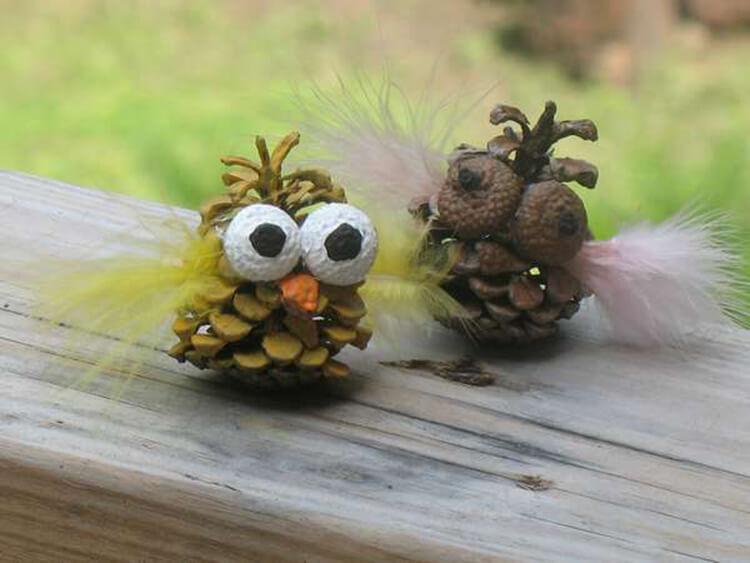 Делаем сову из шишек для детского сада sova iz shishek 1