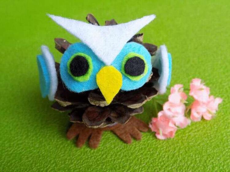 Делаем сову из шишек для детского сада sova iz shishek 12