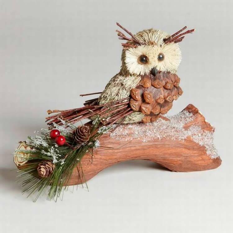 Делаем сову из шишек для детского сада sova iz shishek 13