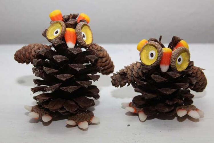 Делаем сову из шишек для детского сада sova iz shishek 16