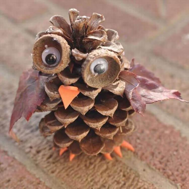 Делаем сову из шишек для детского сада sova iz shishek 17