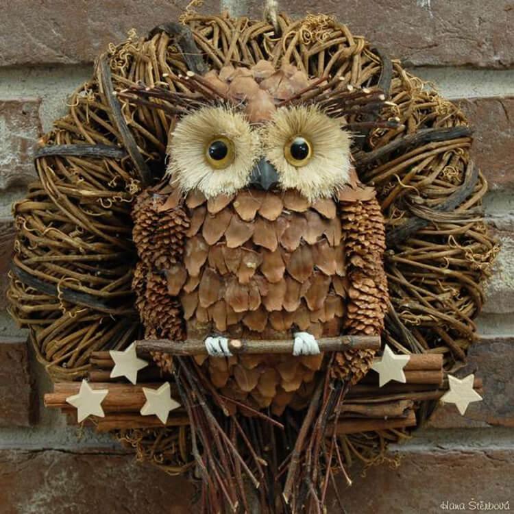 Делаем сову из шишек для детского сада sova iz shishek 18