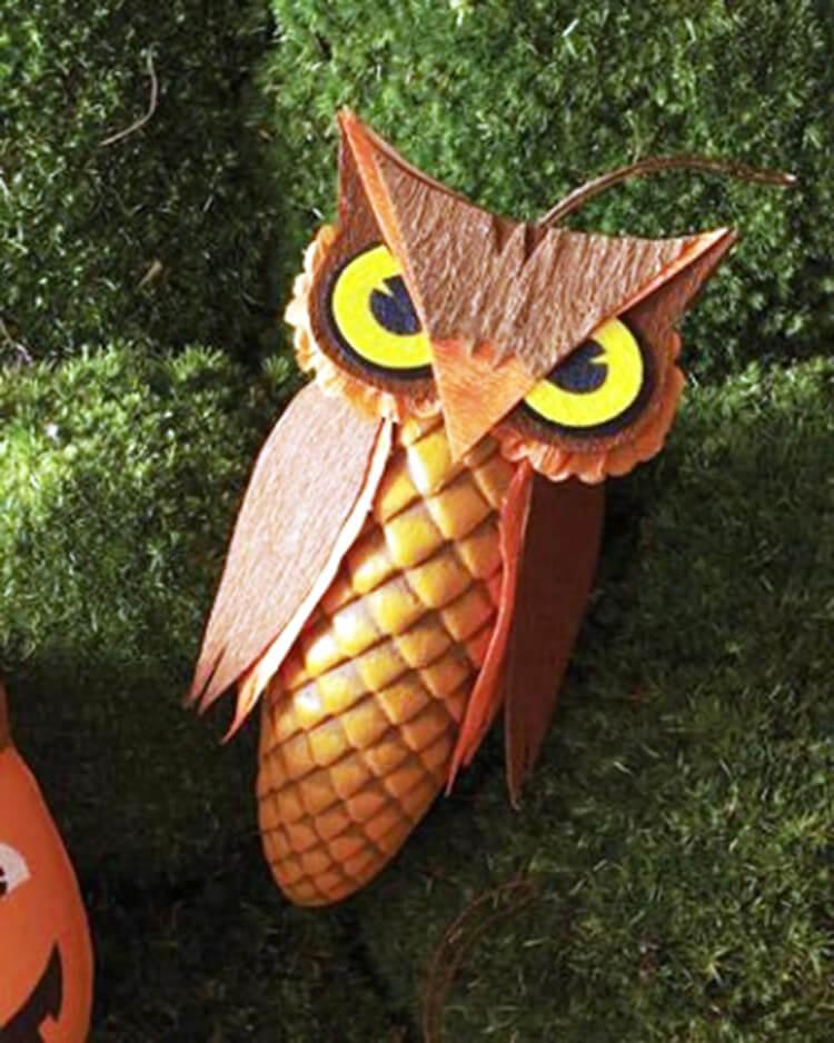 Делаем сову из шишек для детского сада sova iz shishek 4