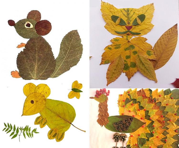 Аппликации из листьев на тему Осень: интересные поделки с фото 2 10 2