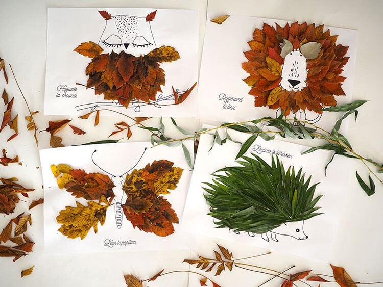 Аппликации из листьев на тему Осень: интересные поделки с фото 2 10 3