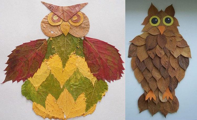 Аппликации из листьев на тему Осень: интересные поделки с фото 20 21 1