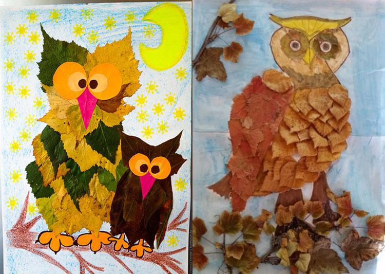 Аппликации из листьев на тему Осень: интересные поделки с фото 23 24