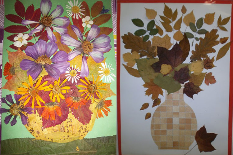 Аппликации из листьев на тему Осень: интересные поделки с фото 61 62